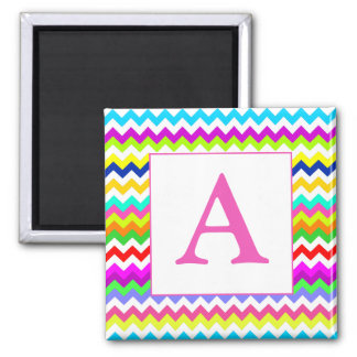 Anything But Gray Chevron Custom Initial Square Magnet
