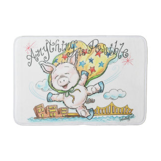 Anything Is Possible Cute Flying Piglet Bath Mat