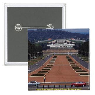 Anzac Parade and Parliament House Canberra Austr Button