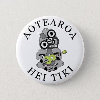 Aotearoa Hei Tiki with green ukulele 2 Inch Round Button