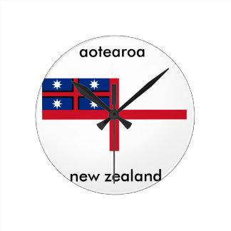 aotearoa new zealand flag round clock