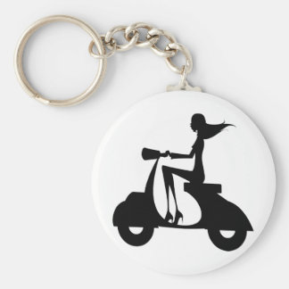 AP028 Girl Scooter Basic Round Button Keychain