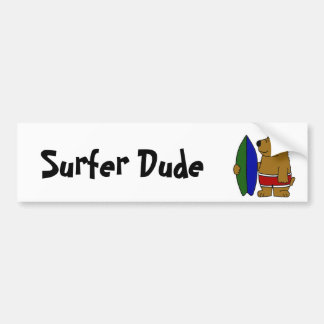 AP- Funny Brown Bear Surfer Dude Bumper Sticker