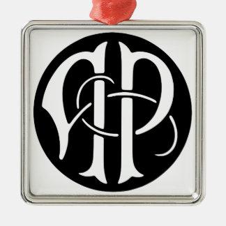 AP Monogram Silver-Colored Square Ornament