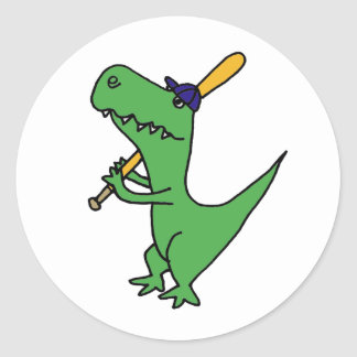 AP- T-rex Dinosaur Playing Baseball Classic Round Sticker