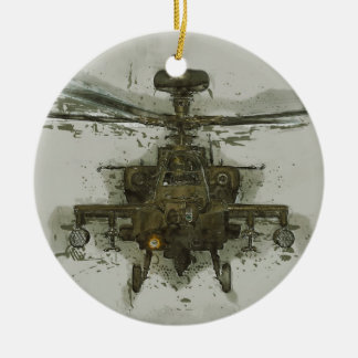 Apache Attack Helicopter Ceramic Ornament