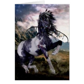Apache Blue Painted Horse Card