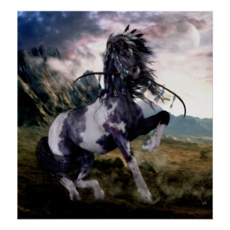 Apache Blue Painted Horse Poster