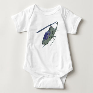 Apache helicopter in front view baby bodysuit