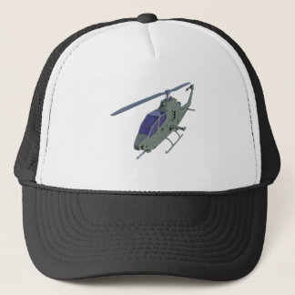 Apache helicopter in front view trucker hat