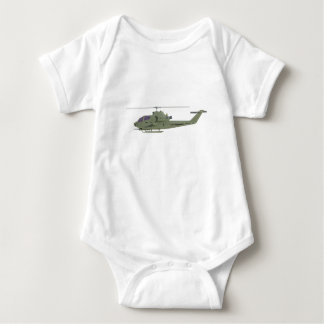 Apache helicopter in side view profile baby bodysuit