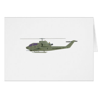 Apache helicopter in side view profile card