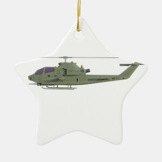 Apache helicopter in side view profile ceramic star ornament