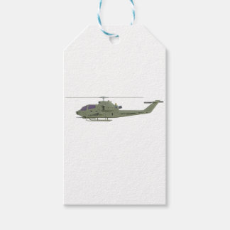 Apache helicopter in side view profile gift tags