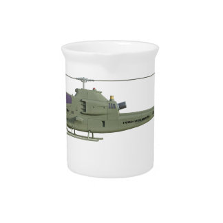 Apache helicopter in side view profile pitcher