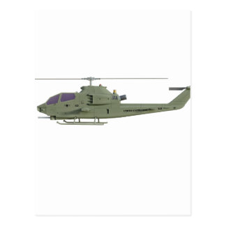 Apache helicopter in side view profile postcard
