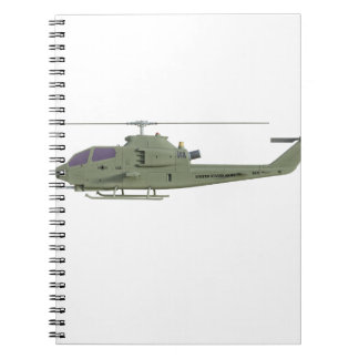 Apache helicopter in side view profile spiral note books