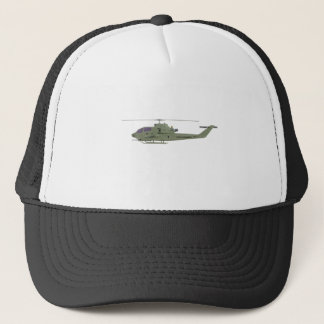 Apache helicopter in side view profile trucker hat