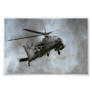 Apache Helicopter in the smoke Poster