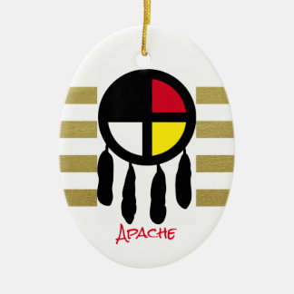 Apache Medicine Wheel Oval Christmas Ornament