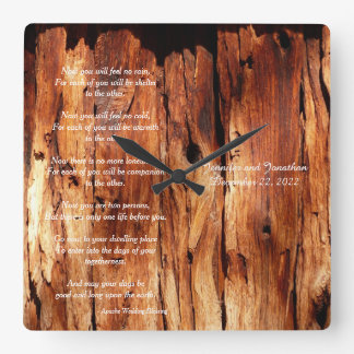 Apache Wedding Blessing Custom Square Wall Clock