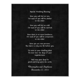 """Apache Wedding Blessing Poster 11"""" x 14"""" Rustic"""
