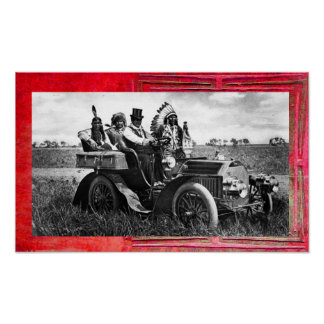 APACHES AND GERONIMO DRIVING A MOTOR CAR POSTER