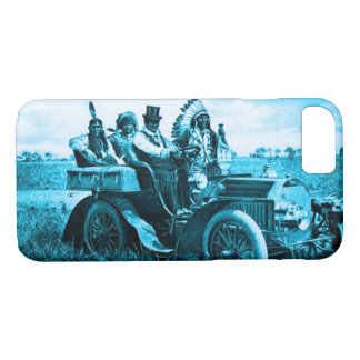 APACHES AND GERONIMO DRIVING A MOTOR CAR Teal Blue iPhone 8/7 Case