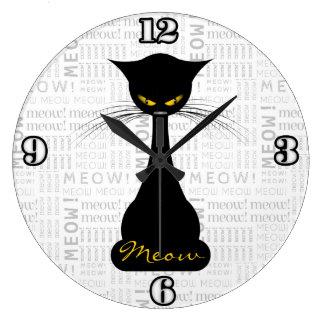 APAL: Black Cat Meow Large Clock