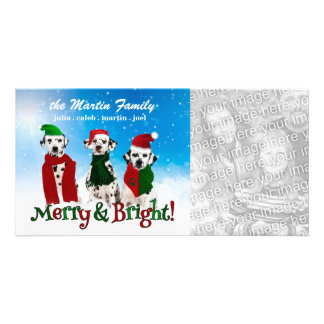 APAL - Christmas Dalmatian Dogs in Santa Hats Photo Card Template