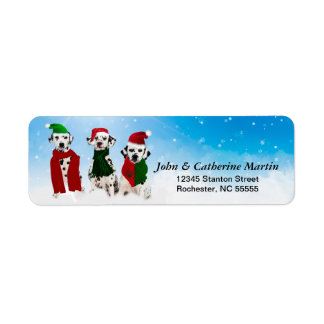 APAL - Christmas Dalmatian Dogs in the Snow Return Address Label