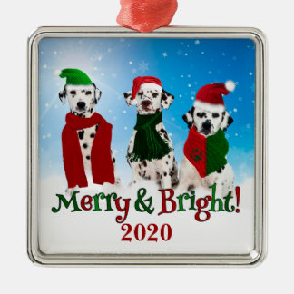 APAL - Christmas Dalmatian Dogs in the Snow Silver-Colored Square Ornament
