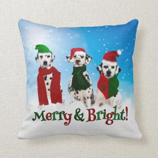 APAL - Christmas Dalmatian Dogs Paw Prints 2-sided Throw Pillow