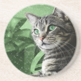 APAL - Christmas Silver Tabby Cat Coaster