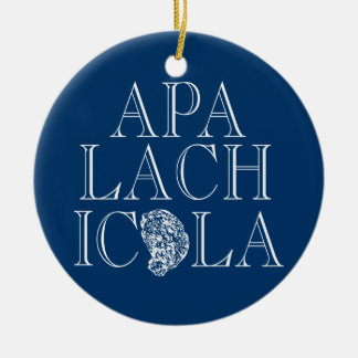 Apalachicola Florida Oyster Design Round Ceramic Ornament