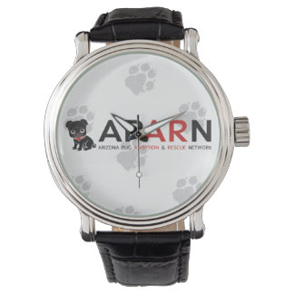 APARN Logo Paw Vintage Black Leather Strap Watch