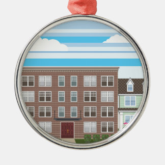 Apartment building Silver-Colored round ornament