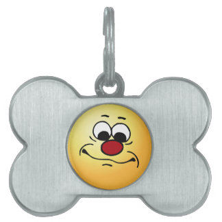Apathetic Smiley Face Grumpey Pet ID Tags