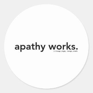 apathy works round sticker