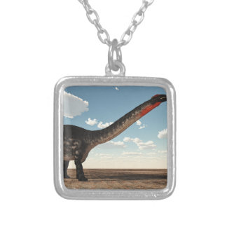Apatosaurus dinosaur - 3D render Silver Plated Necklace