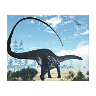 Apatosaurus dinosaur in the desert - 3D render Canvas Print