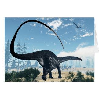 Apatosaurus dinosaur in the desert - 3D render Card