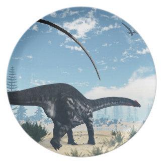 Apatosaurus dinosaur in the desert - 3D render Dinner Plate