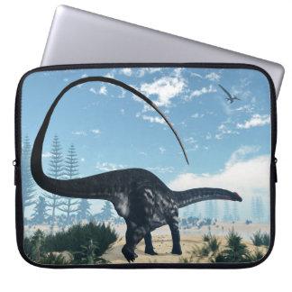Apatosaurus dinosaur in the desert - 3D render Laptop Sleeve