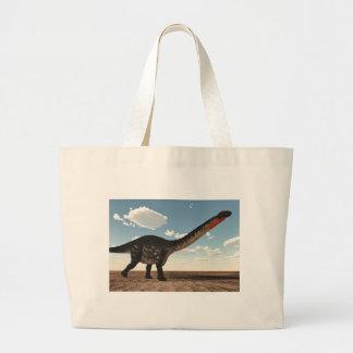 Apatosaurus dinosaur in the desert - 3D render Large Tote Bag