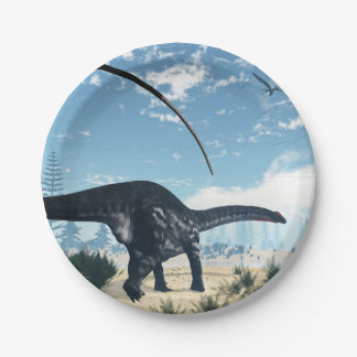 Apatosaurus dinosaur in the desert - 3D render Paper Plate