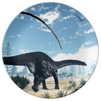 Apatosaurus dinosaur in the desert - 3D render Porcelain Plates