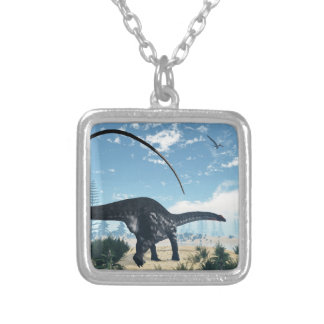 Apatosaurus dinosaur in the desert - 3D render Silver Plated Necklace