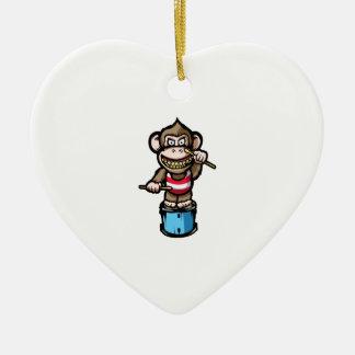 Ape Drum Ceramic Heart Ornament