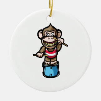 Ape Drum Round Ceramic Ornament